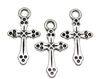 Silver Charms : 10 Antique Silver Cross Charms | Religious Charms | Cross Pendants 19x10.5x2mm --  9080-2.H3G