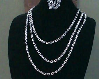 Triple Chain necklace & matching bracelet.