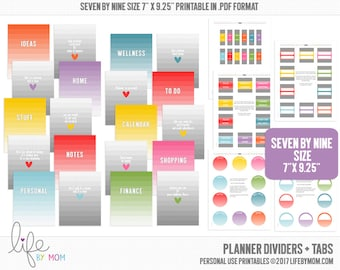 Planner Dividers + Tabs 7 x 9.25 Happy Planner Size, Erin Condern Size, Arc Notebooks, Discbound Inserts