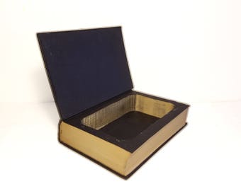 Hollow Book Safe Witness Cloth Bound vintage Secret Compartment Security hiding place