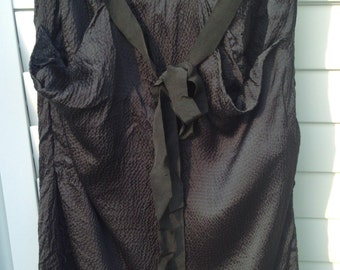 Black Silk Skirt with Ribbon Belt