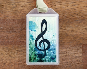 Blue Floral Treble Clef Musical Instrument Case ID Luggage Tag