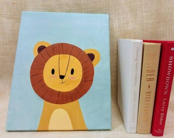 Brave Baby Lion Baby Kids Room Canvas Original Acrylic Painting 11×14