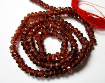 Mozambique Garnet faceted rondelle- 3.5mm- 6.5 inch