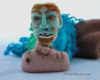 Zombie Head, Exposed Brain, Non- Walking Dead, Needle Felt Wool Bust Sculpture, Living Dead, Mint Green Skin, Dark Rose Sweater - Gift Boxed