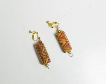 Ethnic Screw Back Earrings, Painted Corks, Cork Earrings, Clip On Boho Earrings, Long, Dangle, Lightweight, New Clips