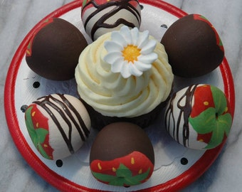 Play Food Chocolate Dipped Strawberries Pretend Food Wooden Toy Play Kitchen Pretend Fruit