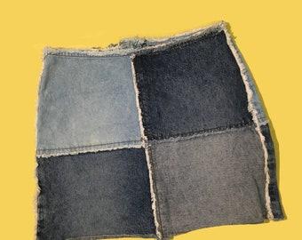 Vintage Patchwork Jean Skirt 90s