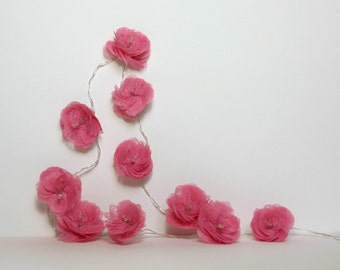 "10 Led - Light Garland of flowers ""Camellia"" roses"