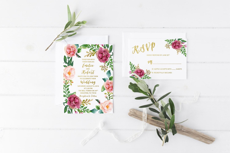 Overnight Wedding Invitations: Boho Marsala Wedding Invitation Burgundy Wedding Invitation