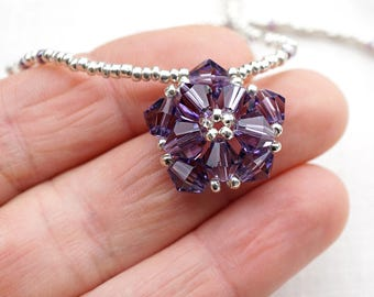 Mothers Day Gift Idea Purple Crystal Necklace Beaded Flower Necklace Petite STERLING Silver Necklace Handmade Delicate Crystal Pendant