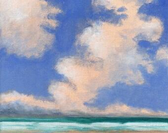Original Landscape Painting on Canvas Clouds Ocean Sky 8x8 Scandinavian Sky Low Horizon Water Beach