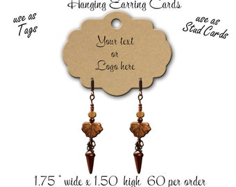 60 Hanging Earring Card, Custom Earring Cards, Jewelry Display, Stud Earring Cards, French Ear Wire Display, tag 4 Euro Earring Card