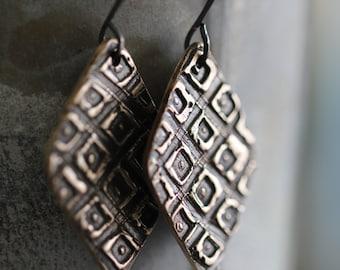 Golden Bronze Earrings, Geometric, Tribal, Gold Tone, Dangle Earrings, PMC Earrings, Metalwork
