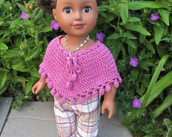 """Handmade 18"""" American Girl/Journey Girl Doll Clothes, crocheted poncho, recycled pants, recycled necklace & headband"""