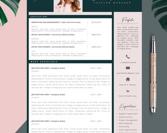 Fashion Resume, CV Template, Resume Template, Creative Resume, 2 Page Resume, Instant Download, Editable in MS Word and Pages + Cover Letter
