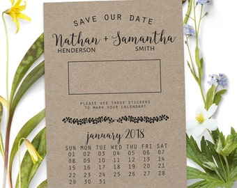 Simple Save the Date Calendar, Save the Date Cards, Personalized Save the Date Cards #12