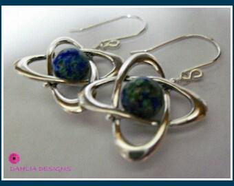 Earrings, Chrysocolla in Sterling Silver Orbit Frames, Handmade Sterling Silver Earwires