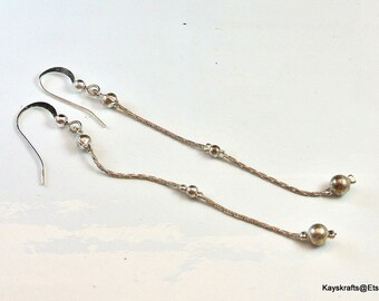 Silver Bead Chain Earrings, Vintage Chain Dangle Earrings, Silver Tone Pierced Earrings, Lightweight Earrings