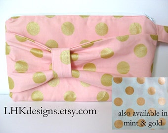 Pink & gold or mint gold bridesmaids bow clutch small wallet purse handbag