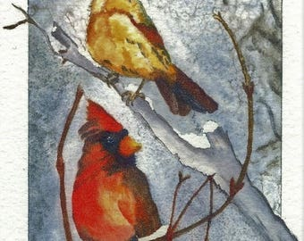 Pair of Cardinals - Watercolor - Note Card 5 x 7 All Occasion - Individually Customized Matting - Quantity Discount