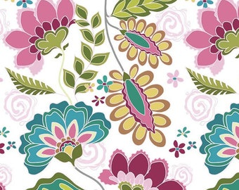 Patchwork fabric, fabric flowers, white fabric by Riley Blake Fantine coupon