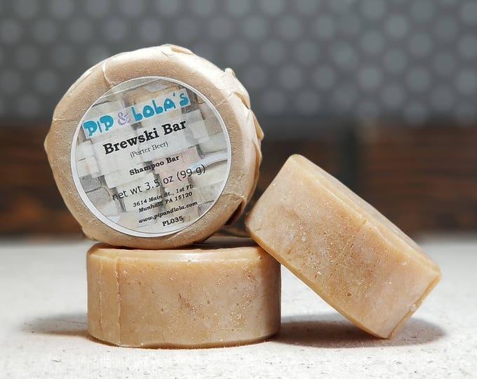 Brewski Bar - Porter Beer Shampoo Bar -- All Natural Shampoo, Handmade Shampoo, Sustainable Organic Palm, Beer Shampoo, Free Shipping