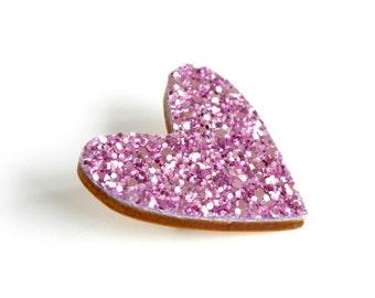 Purple Glitter Heart Pin, Glitter Heart Brooch, Wooden Love Heart Brooch Pin, Mother's Day gift