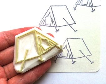 camping tent stamp | woodland rubber stamp | diy summer crafts | birthday wedding card making | art journal | hand carved by talktothesun