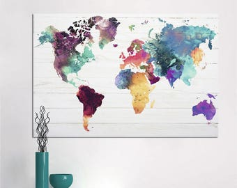 World map painting etsy world map canvas painting wall art picture for living room classical watercolor decoration print unframed gumiabroncs Image collections