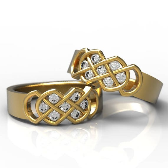 Celtic Diamond Wedding Band Set With Infinity Knot Design in 14K Gold, Made in Your Size CR-771