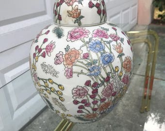 Large Vintage Chinoiserie Floral Ginger Jar