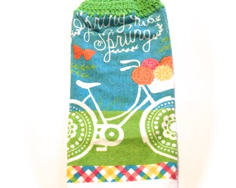 Spring Has Sprung Bicycle Hand Towel With Spring Green Crocheted Top