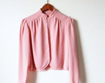 Blush Rose Sheer Jacket / Vintage Cropped Bolero Jacket / Dusty Rose Petal Blouse / Sheer Rose Jacket
