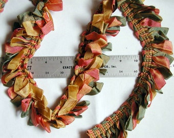 Ribbon Loop Fringe sage, peach and champagne yellow - irridescent shimmer soft and tactile