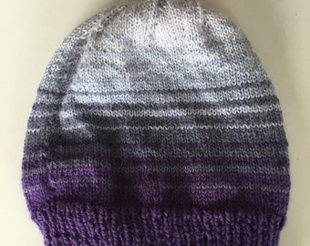 Lavender striped alpaca beanie