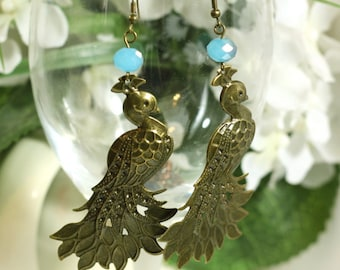 Extra Large Peacock Charm Earrings with Blue Crystal Bead - Womens Jewelry