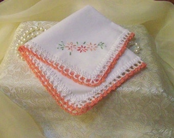 Embroidered Handkerchief, Floral Hanky, Custom Embroidered, Peach Wedding, Hand Crochet, Lace Hankie, Lace Hanky,Personalized, Ready to ship