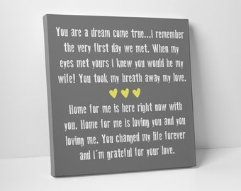 Valentine's Day Gift, Wedding Vow Art, Gallery Wrapped Canvas, Fully Customizable
