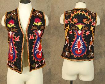vintage 60s 70s Embroidered Vest - 1970s Boho Hippie Ethnic Afghan Floral Vest Sz S M