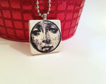 Peeking Face Necklace, Quirky Jewelry, Black and White, Stamped Face Pendant, handmade polymer clay
