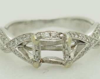 14K White Gold 0.25ctw G-SI Round Cut Natural Diamond Engagement Ring Setting; sku # 5359