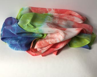 Silk scarf, silk crepe chine, coral, lime and blue shibori banded, 14 x 72, SC6.1