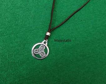 Genuine leather triskel celtic necklace, zamak pendant necklace mens necklace womens leather choker celt symbol celtic necklace