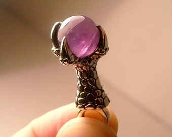 Dragon claw pendant with AMETHYST gem sphere - sterling silver