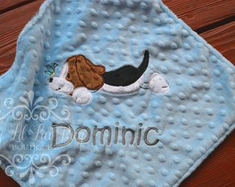 Personalized baby blanket - baby boy beagle puppy dog blanket - custom baby blanket - monogrammed blanket - small lovey blanket - baby gift