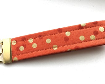 Ombré Persimmon Gold  Dots Key Chain Wristlet Key Fob Gold Colored Hardware Unique Wristlet Key Fob Ombre Confetti Fabric