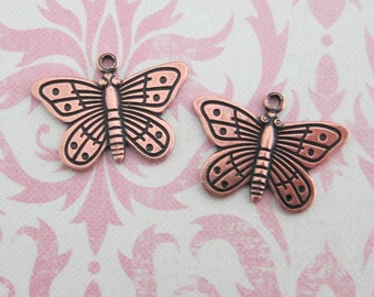 NEW 2 Copper Butterfly Charms 3478C