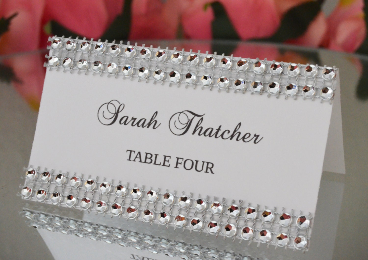 Rhinestone place cards SET OF 25 Bling tent cards place cards