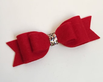 Medium Felt Bow - Red